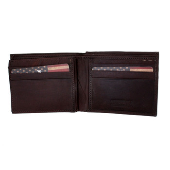 Men's brown leather bifold wallet.