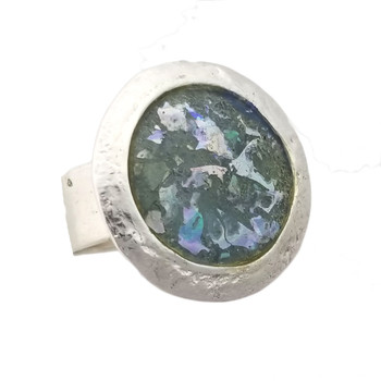 Blue-green Ancient Roman glass round silver ring.
