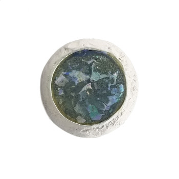 Blue-green Ancient Roman glass round silver ring front view.