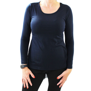 Navy Blue Women's Hi Low Long Sleeve Shirt Back Chiffon