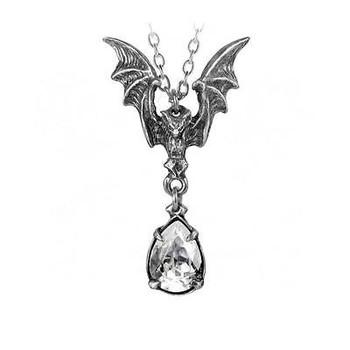 Pewter Gothic Bat Necklace La Nuit  Alchemy P600 Vampire Crystal
