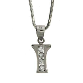 Sterling silver alphabet I pendant.