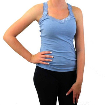 Women's Blue Tank Top Ribbed Cotton Shirt Camisole with Lace Detail