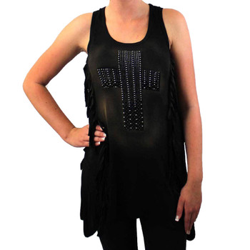 Vocal Black Tank Top Rhinestone Cross Tunic Shirt with Fringe