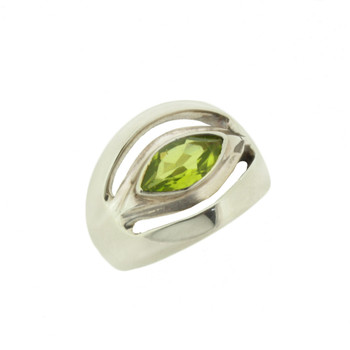 Green Faceted Marquise Peridot Sterling Silver Ring