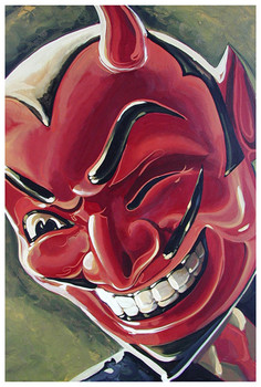 Devilish Grin by Mike Bell Tattoo Art Print Red Devil Mask
