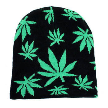 Black & Green Marijuana Pot Leaf Beanie Knit Hat