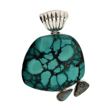 Turquoise Pendant with Blue Green Labradorite and Pearl Gemstone Sterling Silver Jewelry