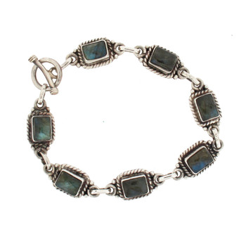 Blue gray Labradorite sterling silver bracelet.