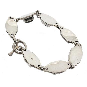 Blue gray Labradorite sterling silver bracelet backside.