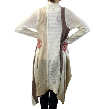 Long Cardigan Open Knit Sweater Jacket Coat Off White Tan and Light Brown Striped