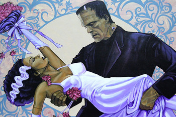 The Wedding by Mike Bell Tattoo Art Print Bride of Frankenstein