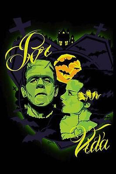 Por Vida Monsters by Charlie Medina Tattoo Art Print Bride of  Frankenstein