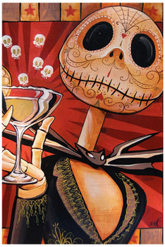 Jack Celebrates the Dead by Mike Bell Tattoo Art Print Halloween Skeleton