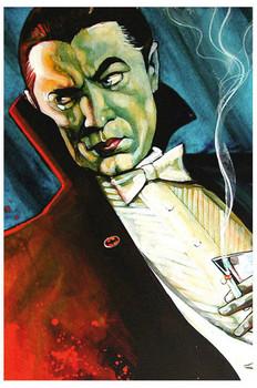 Bat Man by Mike Bell Tattoo Art Print  Monster Vampire Gothic Dracula Smoking