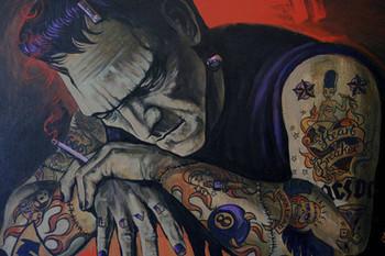 Heart Breaker by Mike Bell Tattoo Art Print  Monster Frankenstein Smoking