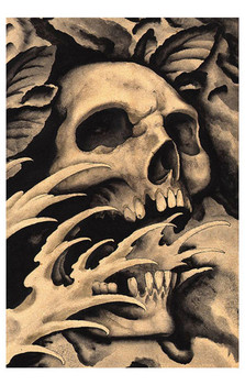 Screaming Skull by Clark North Tattoo Art Print Japanese Asian Traditional