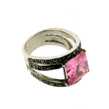 Sterling silver Marcasite and pink CZ ring side view.