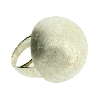 Brushed Sterling Silver Large Ball Cocktail Ring