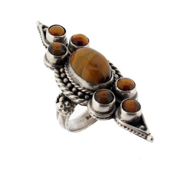 Tigers Eye cocktail ring size 8.