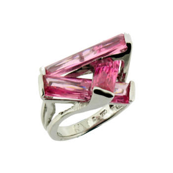 Pink CZ sterling silver ring.