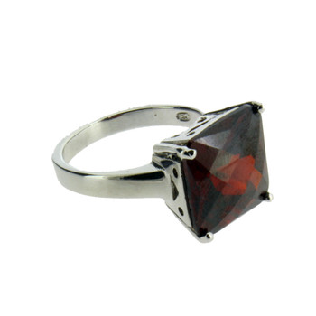 Red square CZ sterling silver ring.