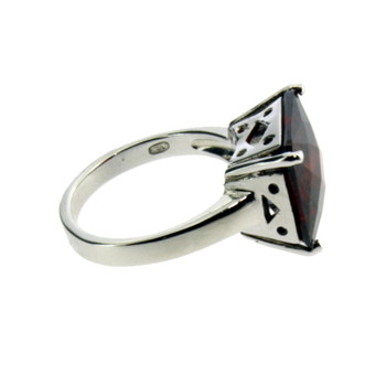 Side view of red square CZ sterling silver ring.