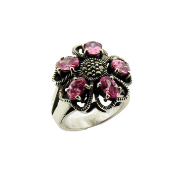 Pink CZ and Marcasite sterling silver ring.