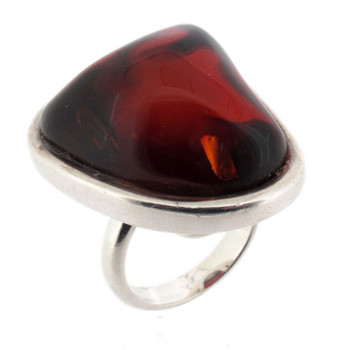 Red brown Amber sterling silver ring.