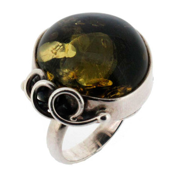 Green Amber cocktail ring.