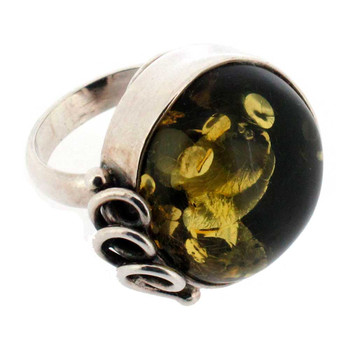 Green Amber cocktail ring side view.