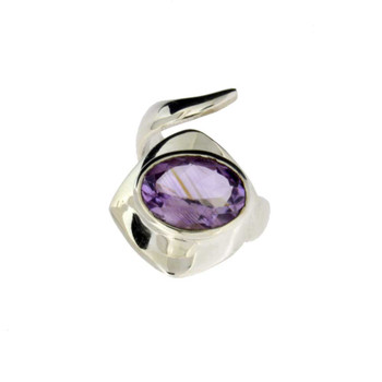 Amethyst sterling silver ring.