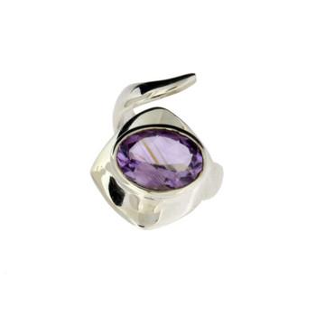 Amethyst sterling silver ring.