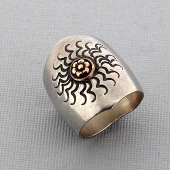 Brushed Sterling Silver Ring Antiqued Celestial Sun Design with Copper Detail