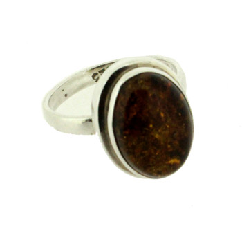 Oval Brown Amber Sterling Silver Ring Size 7.5