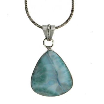 Handmade Blue Larimar Pendant Sterling Silver Jewelry Pear Shape