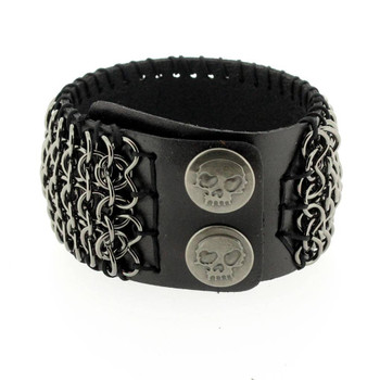 Black leather and chain cuff bracelet.