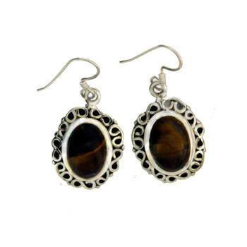 Tigers Eye Sterling Silver Dangle Earrings