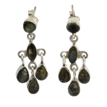 Dangle Labradorite Earrings Chandelier Sterling Silver Post Pierced