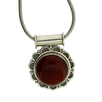 Sterling Silver Reddish Brown Carnelian Pendant