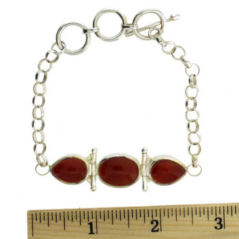 Rust Carnelian Sterling Silver Bracelet Gemstone Jewelry Toggle Clasp