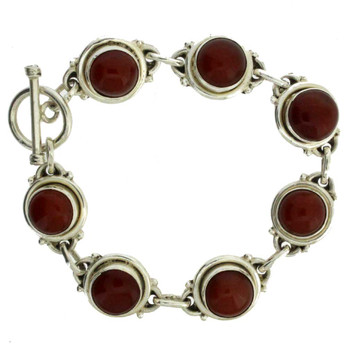 "7"" Rust Carnelian Sterling Silver Bracelet Gemstone Jewelry Toggle Clasp"