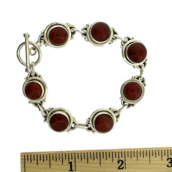 "7"" Rust Carnelian Sterling Silver Bracelet Gemstone Jewelry Toggle Clasp"