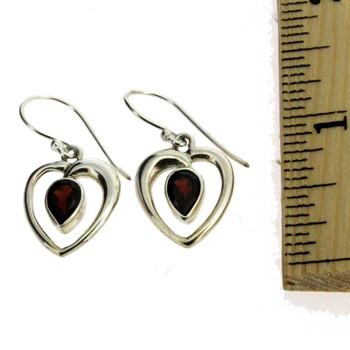 Garnet heart earrings.