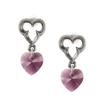 Alchemy Gothic Elizabethan Dangle Heart Stud Earrings Pewter Jewelry E346