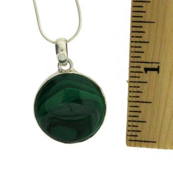 Round Malachite Pendant Sterling Silver