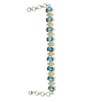 Blue Topaz Bracelet Faceted Stones Sterling Silver