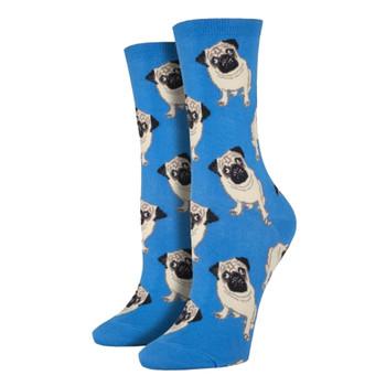 Socksmith Womens Crew Socks Frenchie French Bulldog Gray Novelty Footwear New