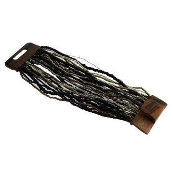 Bronze Black Silver Copper Bali Bracelet Glass Beads Wood Buckle Elastic