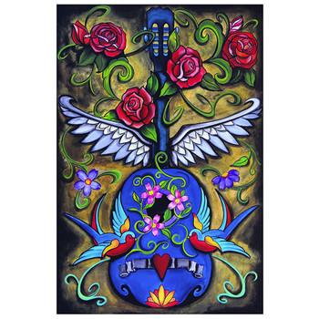 Song Bird Blue Guitar Art Print